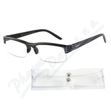 Brýle čtecí +1. 50 černé s pruhy a pouzdrem