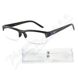Brýle čtecí +3.00 černé s pruhy a pouzdrem